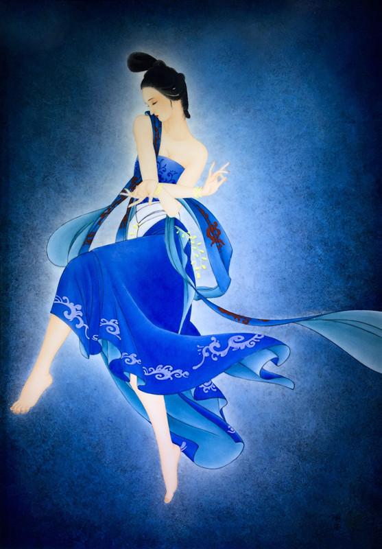 《霓裳羽衣曲》之一· 蓝  2015年  釉上彩瓷板 82*57cm