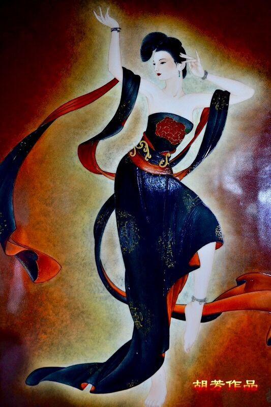 《霓裳羽衣曲》之三· 红黑   2015年  釉上彩瓷板 82*57cm