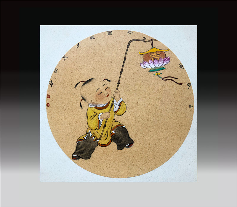 婴戏图瓷板画之三:《吉星高照图》    2020年  釉上彩瓷板  直径 35cm圆